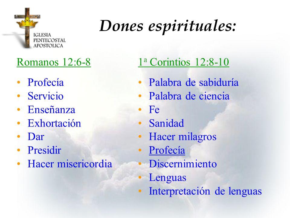 Romanos 12:6-8 Profecía Servicio Enseñanza Exhortación Dar Presidir Hacer misericordia 1 a Corintios 12:8-10 Palabra de sabiduría Palabra de ciencia F