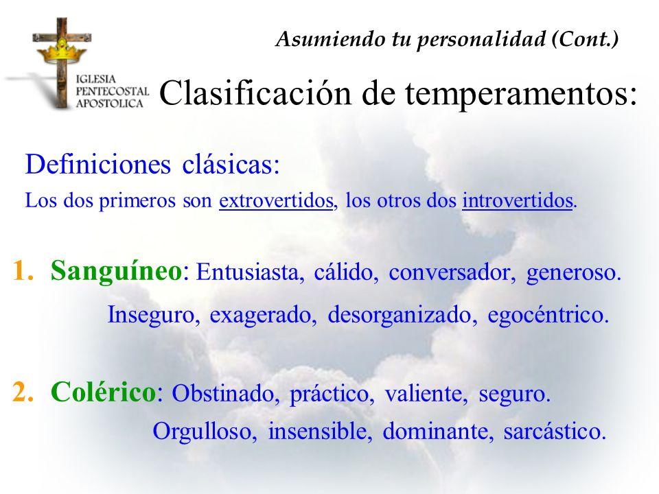 Clasificación de temperamentos: Definiciones clásicas: Los dos primeros son extrovertidos, los otros dos introvertidos. Asumiendo tu personalidad (Con
