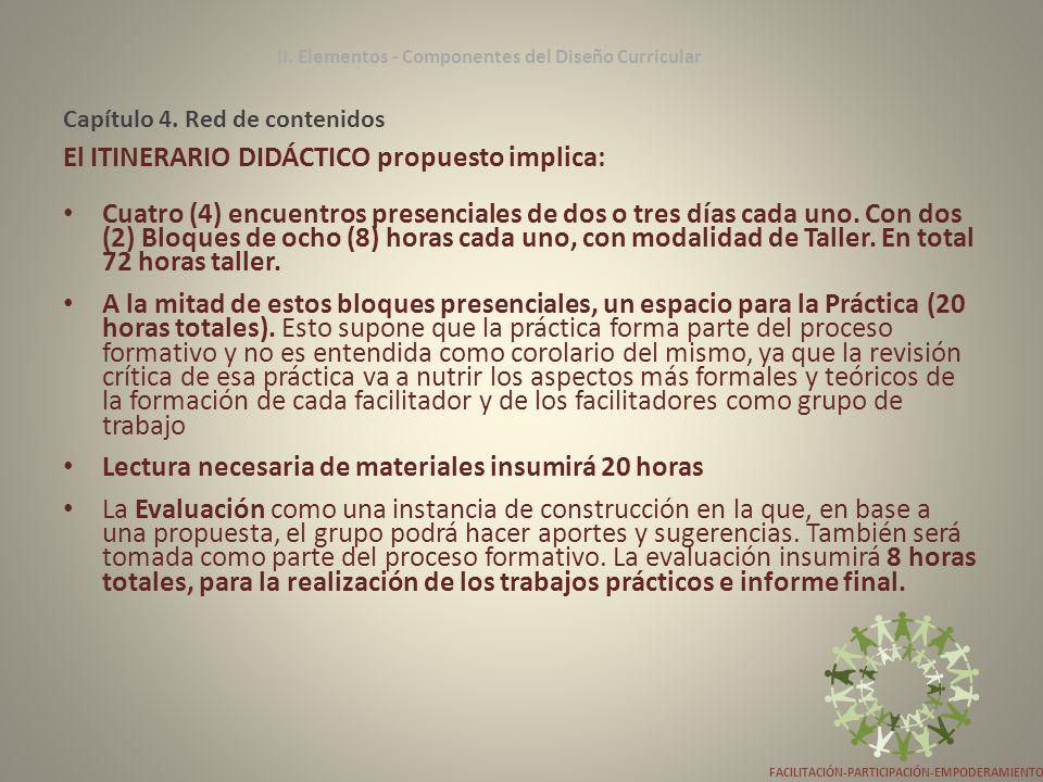 Capítulo 4. Red de contenidos El ITINERARIO DIDÁCTICO propuesto implica: Cuatro (4) encuentros presenciales de dos o tres días cada uno. Con dos (2) B