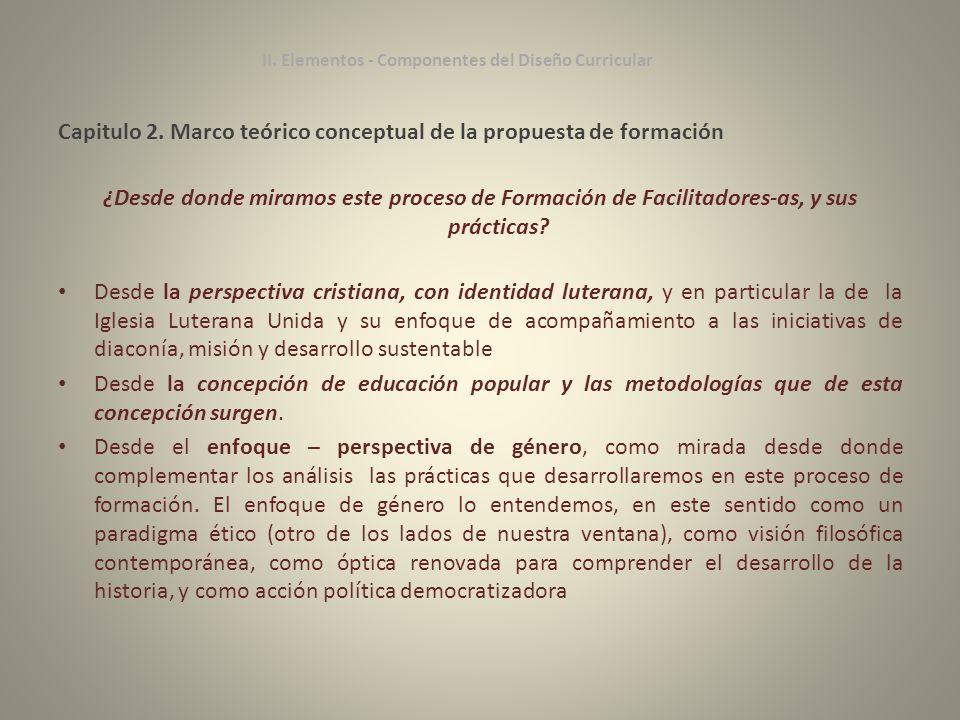 Capitulo 2. Marco teórico conceptual de la propuesta de formación ¿Desde donde miramos este proceso de Formación de Facilitadores-as, y sus prácticas?