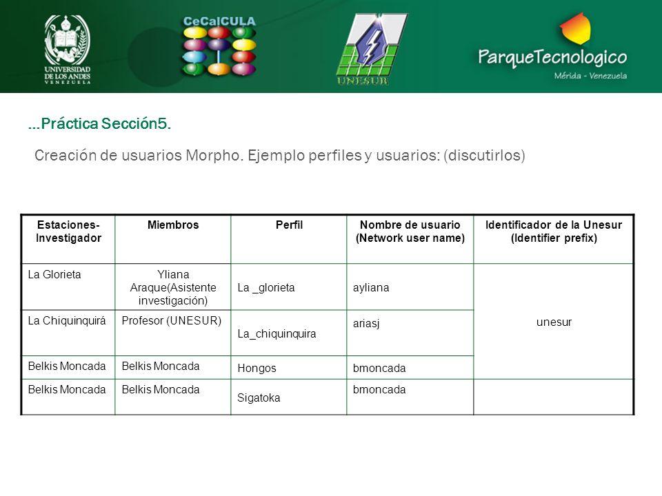 …Práctica Sección5. Creación de usuarios Morpho. Ejemplo perfiles y usuarios: (discutirlos) Estaciones- Investigador MiembrosPerfilNombre de usuario (