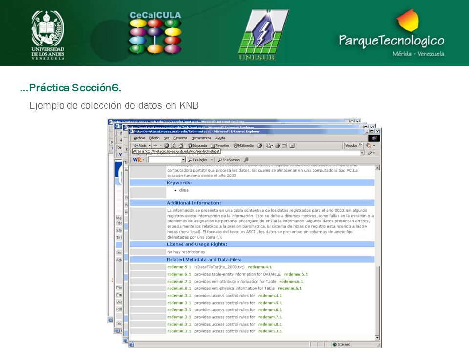…Práctica Sección6. Ejemplo de colección de datos en KNB