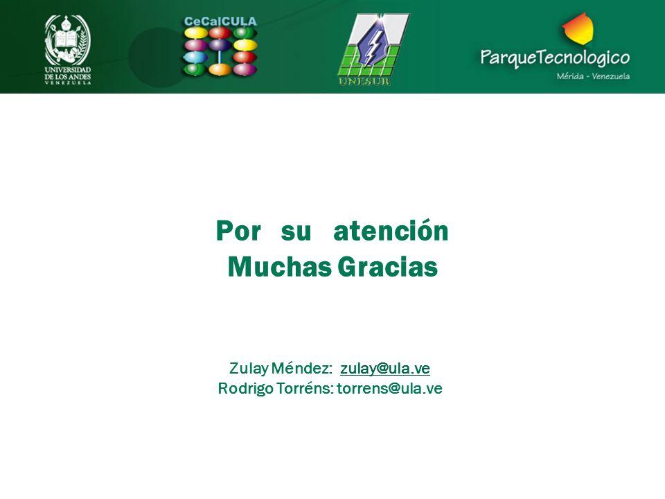 Por su atención Muchas Gracias Zulay Méndez: zulay@ula.vezulay@ula.ve Rodrigo Torréns: torrens@ula.ve