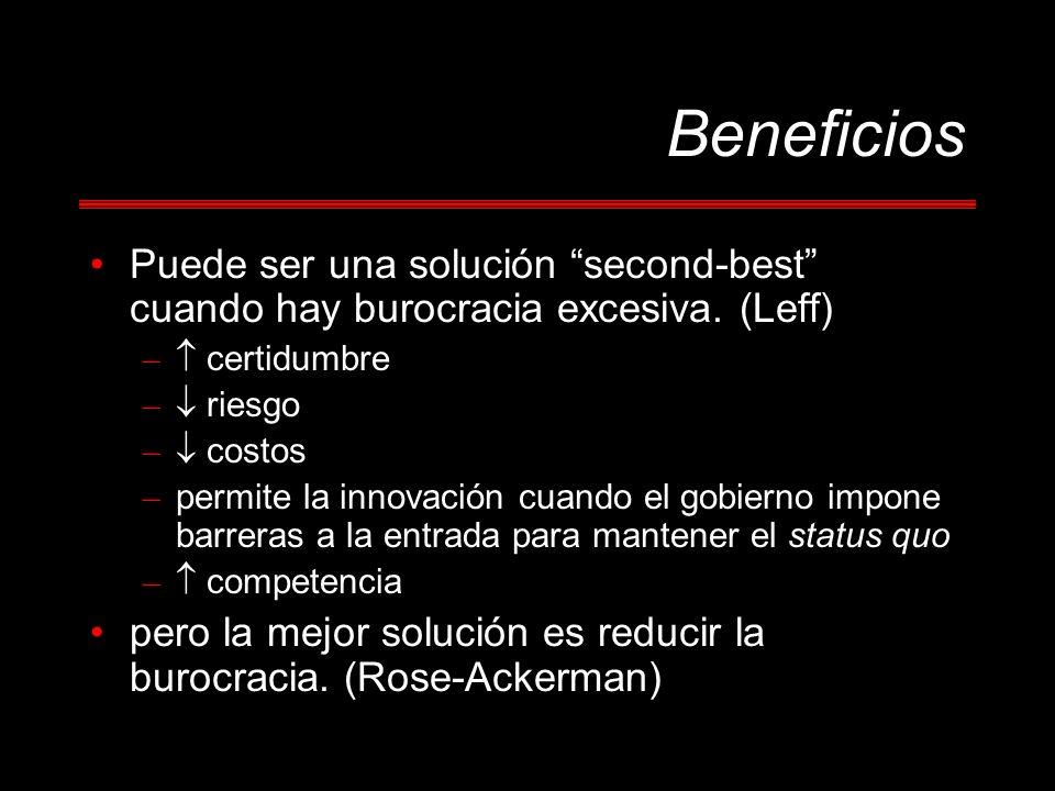 Beneficios Puede ser una solución second-best cuando hay burocracia excesiva. (Leff) – certidumbre – riesgo – costos – permite la innovación cuando el
