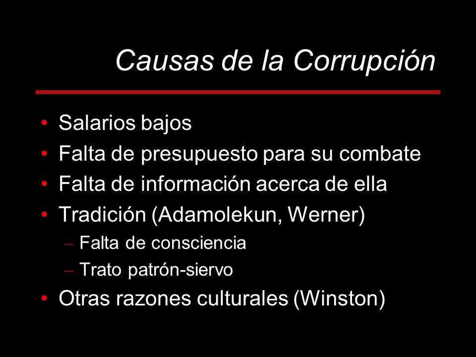 Causas de la Corrupción Salarios bajos Falta de presupuesto para su combate Falta de información acerca de ella Tradición (Adamolekun, Werner) – Falta