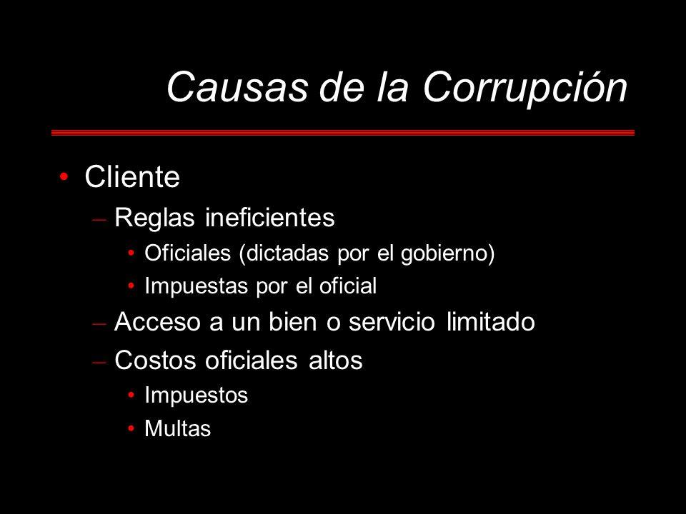 Causas de la Corrupción Cliente – Reglas ineficientes Oficiales (dictadas por el gobierno) Impuestas por el oficial – Acceso a un bien o servicio limitado – Costos oficiales altos Impuestos Multas