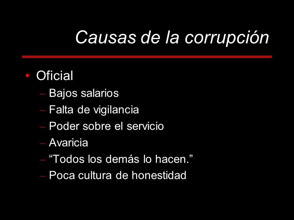 Oficial – Bajos salarios – Falta de vigilancia – Poder sobre el servicio – Avaricia – Todos los demás lo hacen. – Poca cultura de honestidad