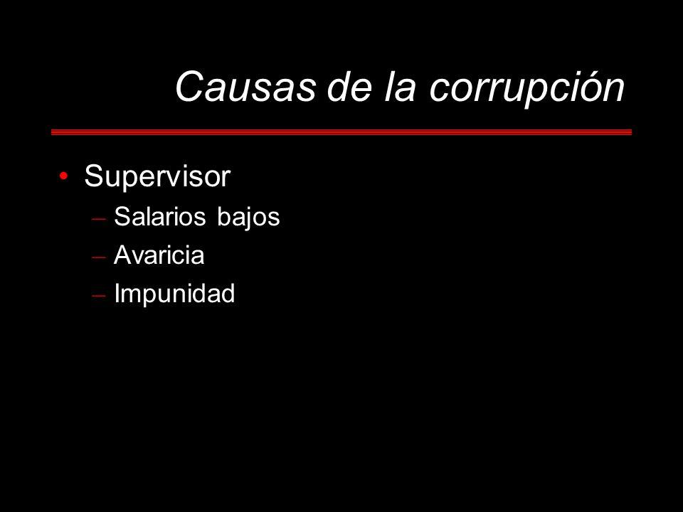 Causas de la corrupción Supervisor – Salarios bajos – Avaricia – Impunidad