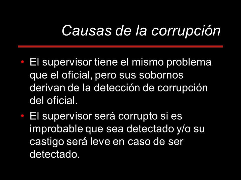 Causas de la corrupción El supervisor tiene el mismo problema que el oficial, pero sus sobornos derivan de la detección de corrupción del oficial. El