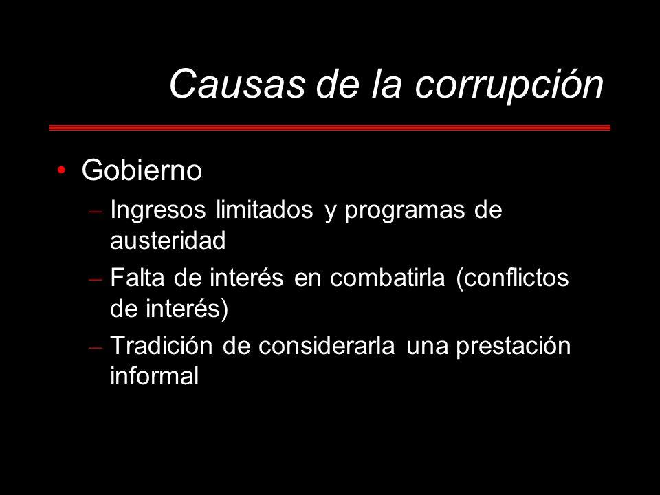 Causas de la corrupción Gobierno – Ingresos limitados y programas de austeridad – Falta de interés en combatirla (conflictos de interés) – Tradición de considerarla una prestación informal