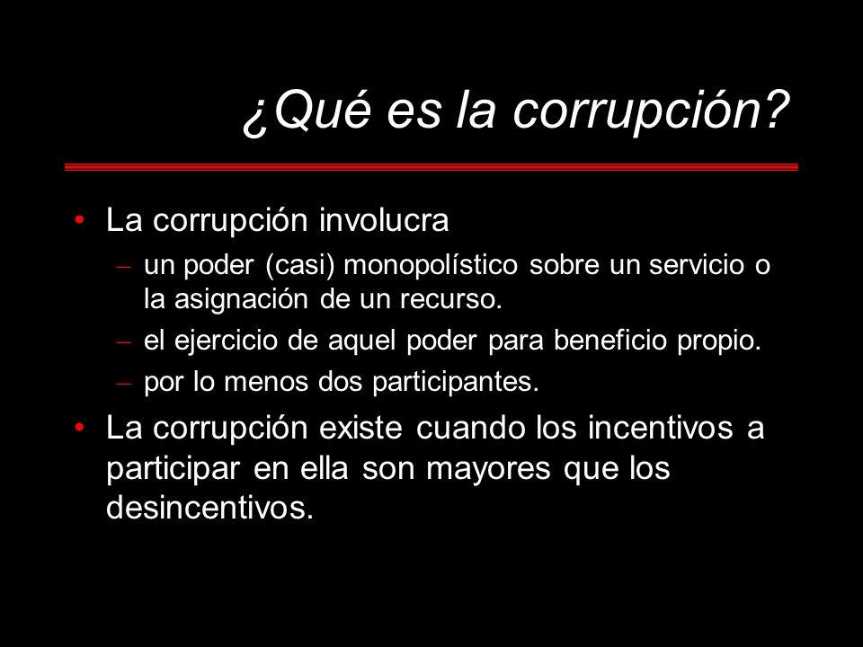 La corrupción involucra – un poder (casi) monopolístico sobre un servicio o la asignación de un recurso. – el ejercicio de aquel poder para beneficio