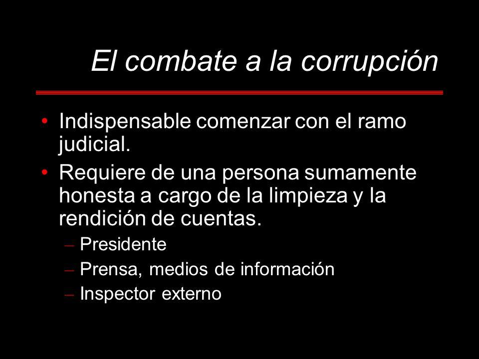 El combate a la corrupción Indispensable comenzar con el ramo judicial. Requiere de una persona sumamente honesta a cargo de la limpieza y la rendició