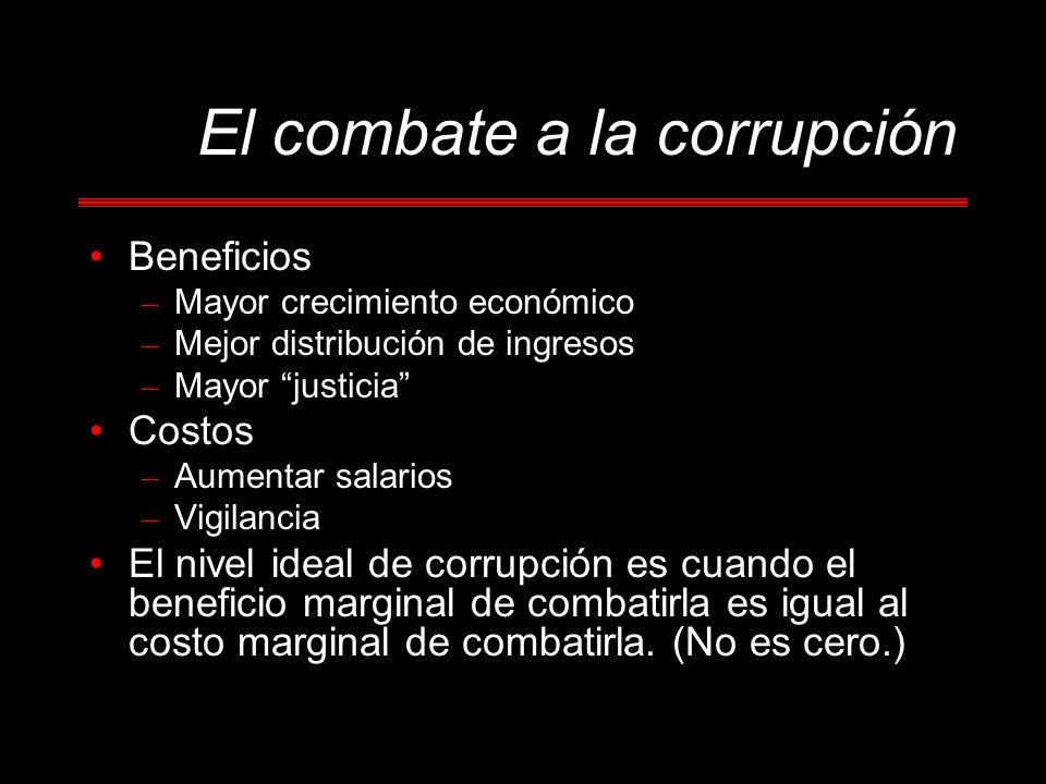 El combate a la corrupción Beneficios – Mayor crecimiento económico – Mejor distribución de ingresos – Mayor justicia Costos – Aumentar salarios – Vigilancia El nivel ideal de corrupción es cuando el beneficio marginal de combatirla es igual al costo marginal de combatirla.