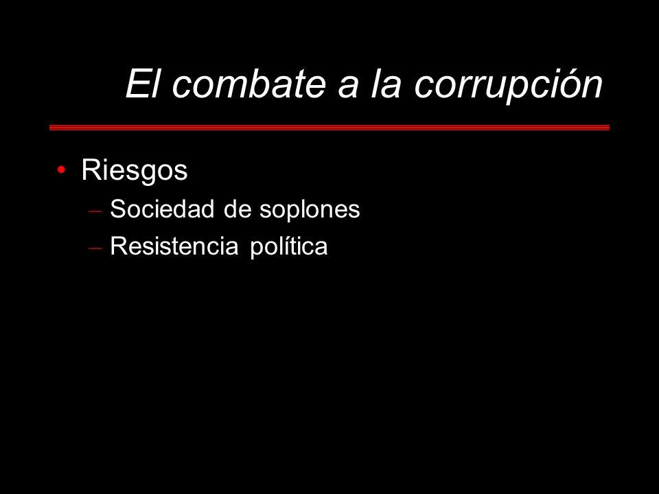 El combate a la corrupción Riesgos – Sociedad de soplones – Resistencia política