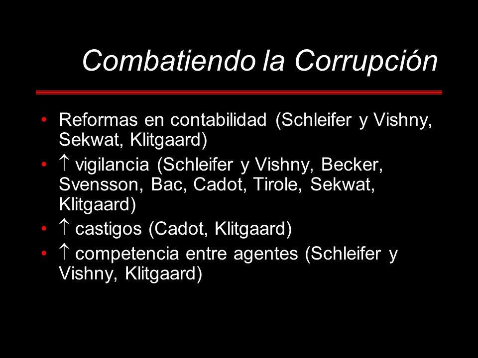 Combatiendo la Corrupción Reformas en contabilidad (Schleifer y Vishny, Sekwat, Klitgaard) vigilancia (Schleifer y Vishny, Becker, Svensson, Bac, Cado