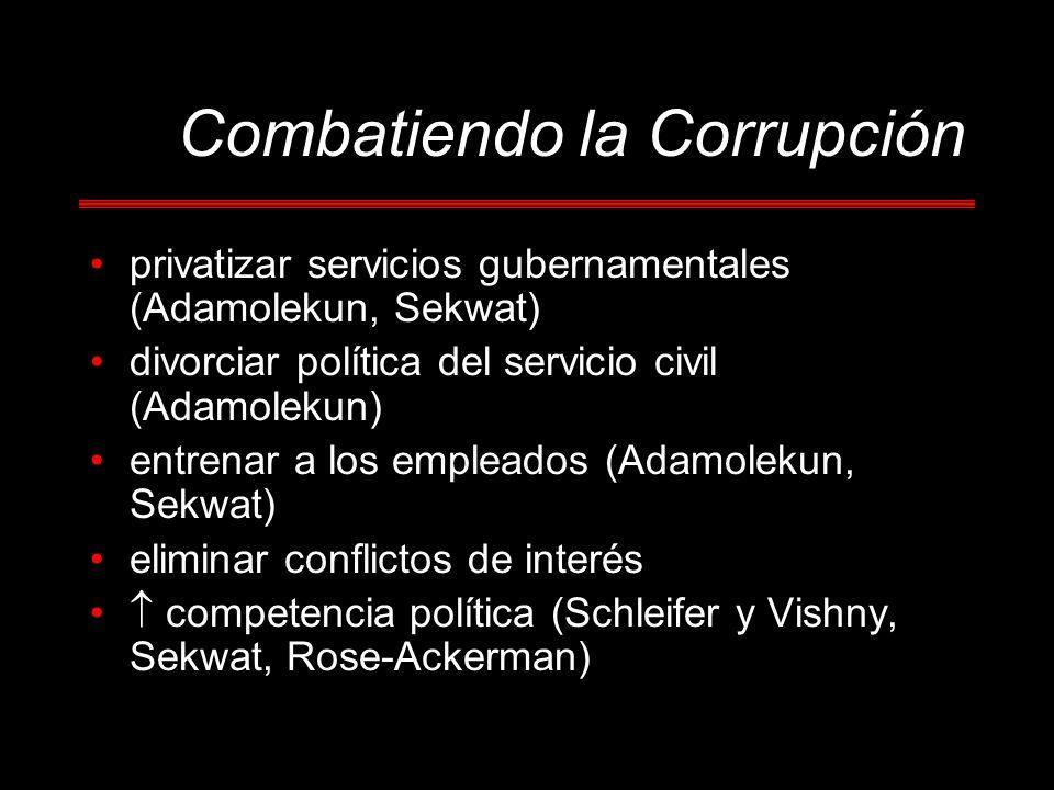 Combatiendo la Corrupción privatizar servicios gubernamentales (Adamolekun, Sekwat) divorciar política del servicio civil (Adamolekun) entrenar a los empleados (Adamolekun, Sekwat) eliminar conflictos de interés competencia política (Schleifer y Vishny, Sekwat, Rose-Ackerman)