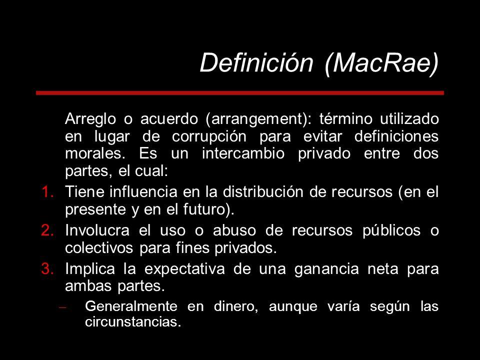 Definición (MacRae) Arreglo o acuerdo (arrangement): término utilizado en lugar de corrupción para evitar definiciones morales. Es un intercambio priv