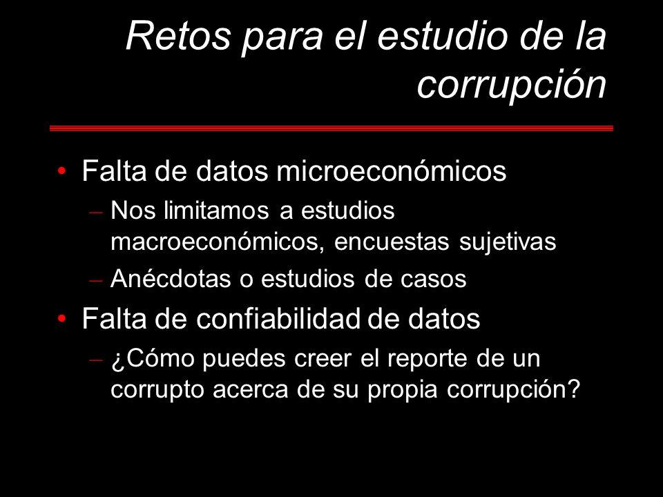 Falta de datos microeconómicos – Nos limitamos a estudios macroeconómicos, encuestas sujetivas – Anécdotas o estudios de casos Falta de confiabilidad de datos – ¿Cómo puedes creer el reporte de un corrupto acerca de su propia corrupción?