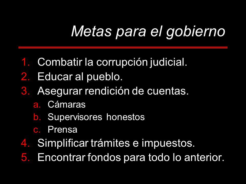 1.Combatir la corrupción judicial.2.Educar al pueblo.