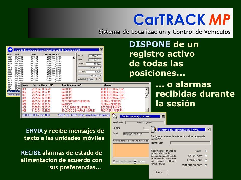 CarTRACK MP Sistema de Localización y Control de Vehículos DISPONE DISPONE de un registro activo de todas las posiciones...... o alarmas recibidas dur