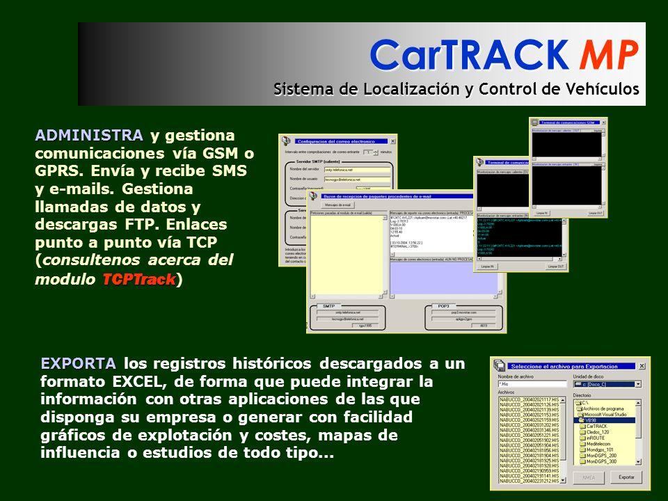 CarTRACK MP Sistema de Localización y Control de Vehículos ADMINISTRA TCPTrack ADMINISTRA y gestiona comunicaciones vía GSM o GPRS. Envía y recibe SMS