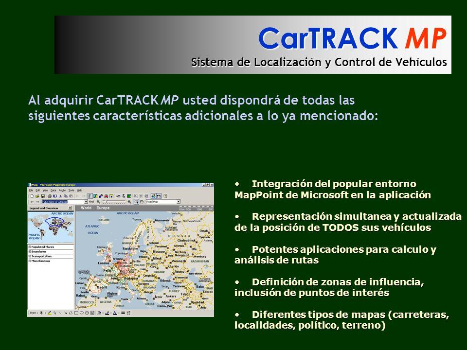 CarTRACK MP Sistema de Localización y Control de Vehículos Al adquirir CarTRACK MP usted dispondrá de todas las siguientes características adicionales