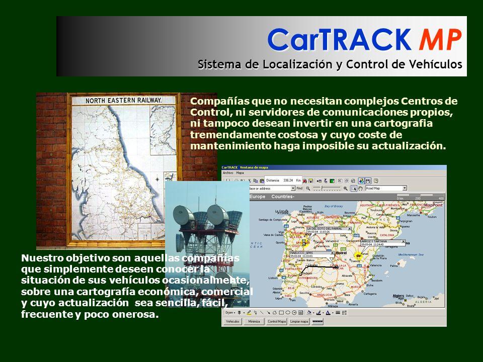 CarTRACK MP Sistema de Localización y Control de Vehículos Compañías que no necesitan complejos Centros de Control, ni servidores de comunicaciones pr