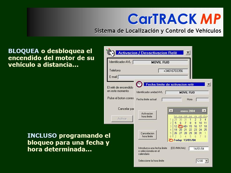 CarTRACK MP Sistema de Localización y Control de Vehículos BLOQUEA BLOQUEA o desbloquea el encendido del motor de su vehículo a distancia... INCLUSO I