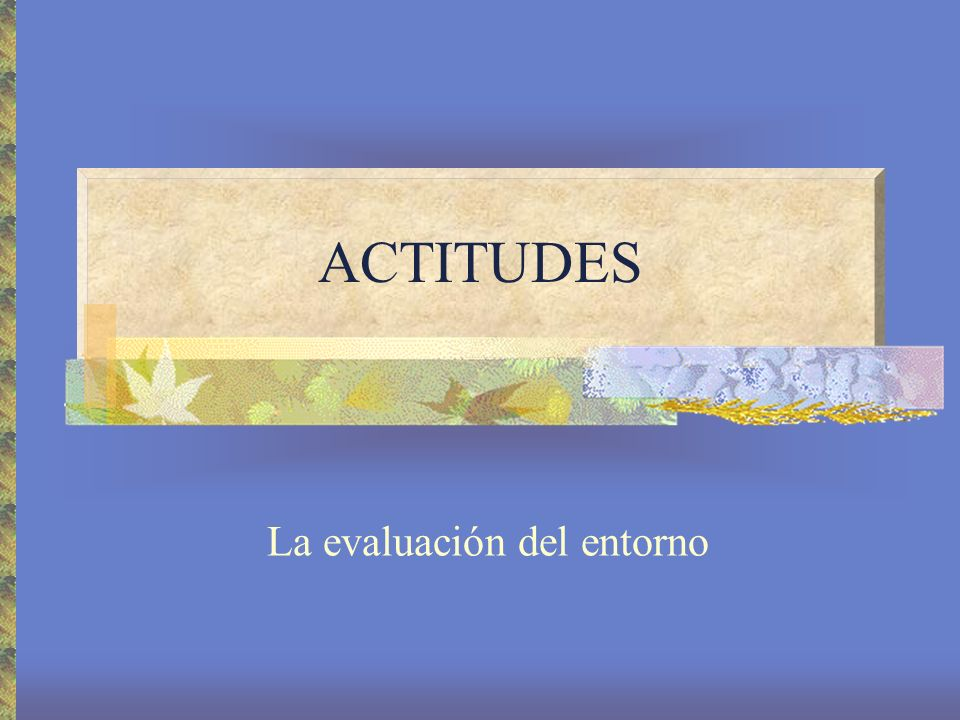 ACTITUDES La evaluación del entorno