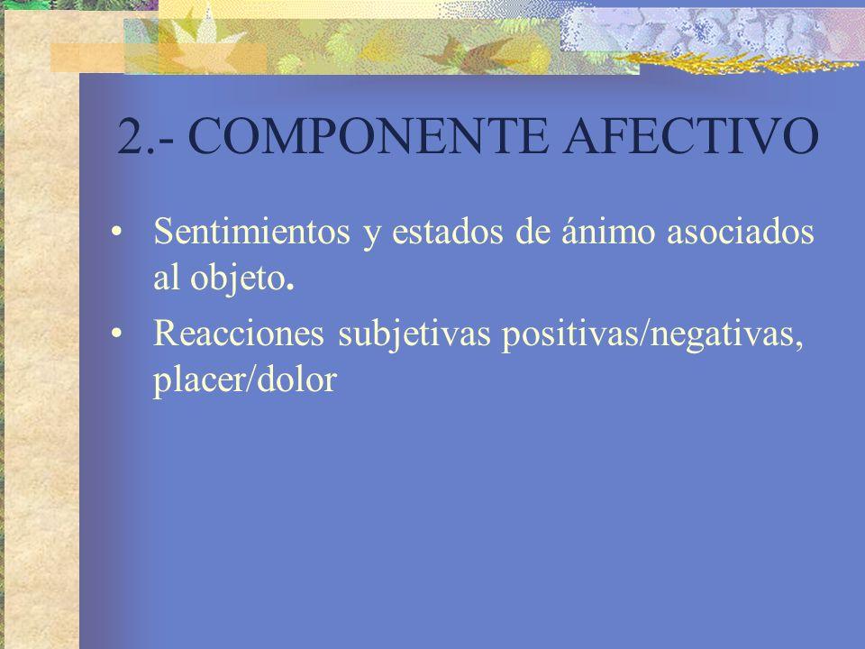 2.- COMPONENTE AFECTIVO Sentimientos y estados de ánimo asociados al objeto.