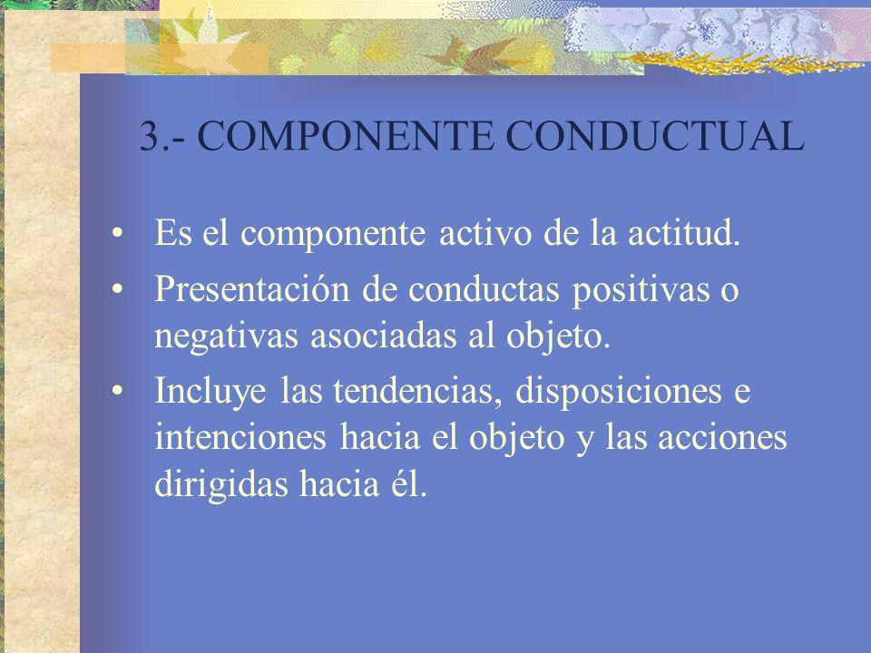 3.- COMPONENTE CONDUCTUAL Es el componente activo de la actitud.