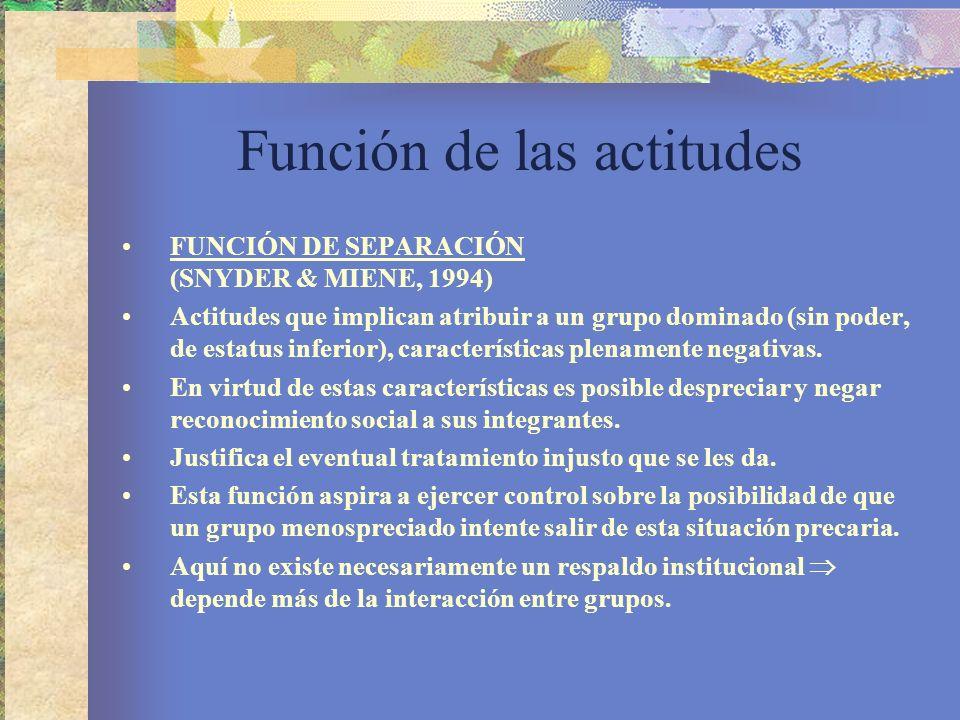 Función de las actitudes FUNCIÓN DE SEPARACIÓN (SNYDER & MIENE, 1994) Actitudes que implican atribuir a un grupo dominado (sin poder, de estatus inferior), características plenamente negativas.
