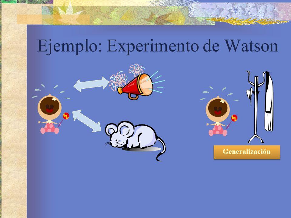 Ejemplo: Experimento de Watson Generalización