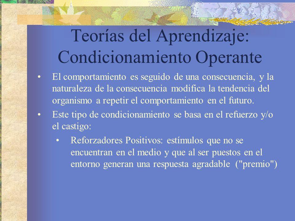 Teorías del Aprendizaje: Condicionamiento Operante El comportamiento es seguido de una consecuencia, y la naturaleza de la consecuencia modifica la tendencia del organismo a repetir el comportamiento en el futuro.