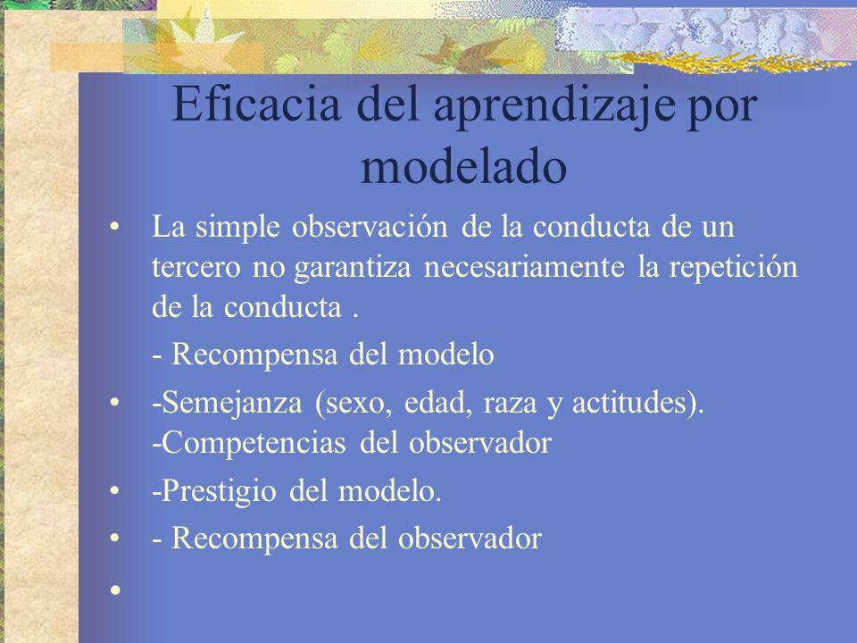 Eficacia del aprendizaje por modelado La simple observación de la conducta de un tercero no garantiza necesariamente la repetición de la conducta.