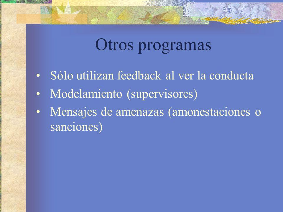 Otros programas Sólo utilizan feedback al ver la conducta Modelamiento (supervisores) Mensajes de amenazas (amonestaciones o sanciones)