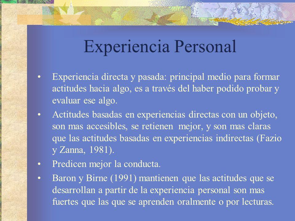 Experiencia Personal Experiencia directa y pasada: principal medio para formar actitudes hacia algo, es a través del haber podido probar y evaluar ese algo.