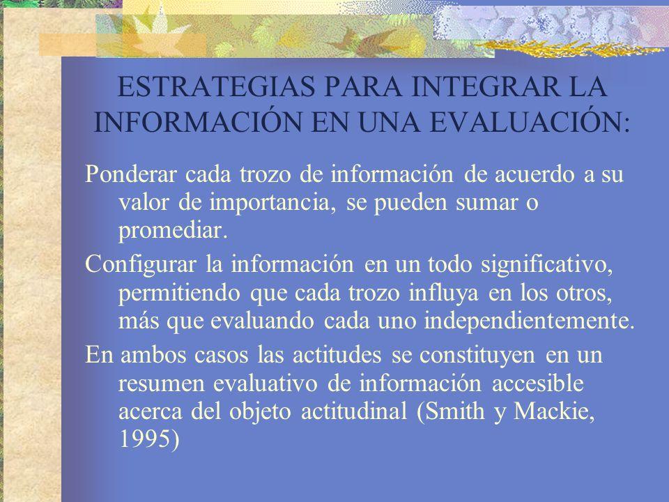 ESTRATEGIAS PARA INTEGRAR LA INFORMACIÓN EN UNA EVALUACIÓN: Ponderar cada trozo de información de acuerdo a su valor de importancia, se pueden sumar o promediar.