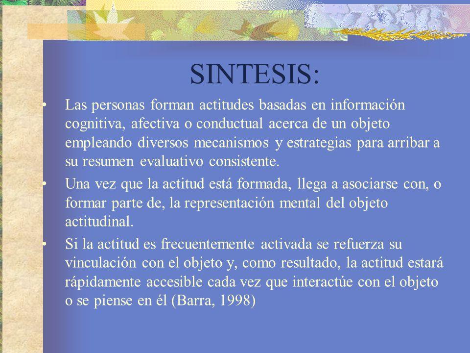 SINTESIS: Las personas forman actitudes basadas en información cognitiva, afectiva o conductual acerca de un objeto empleando diversos mecanismos y estrategias para arribar a su resumen evaluativo consistente.