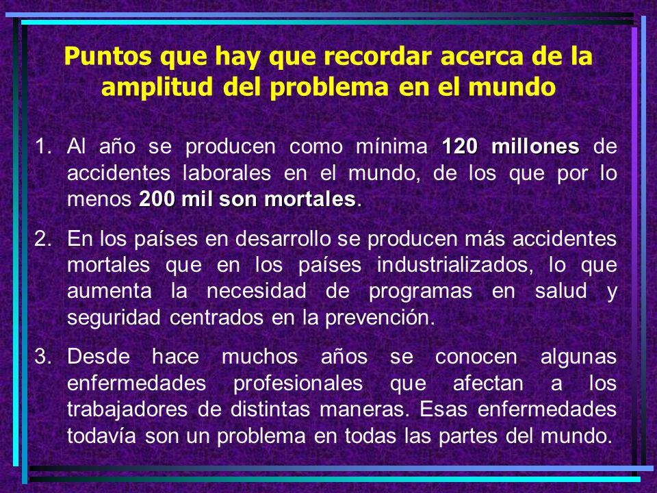 5.Los empleadores tienen la responsabilidad moral, y a menudo jurídica de proteger a sus trabajadores. 6.En todo el mundo son frecuentes los accidente