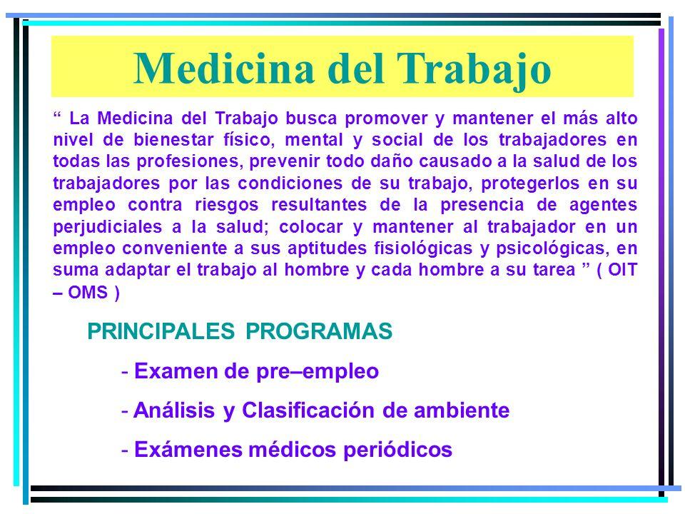 Medicina del Trabajo Higiene Industrial Seguridad Industrial Ergonomía Factores Psicosociales PRINCIPALES AREAS DE SALUD OCUPACIONAL