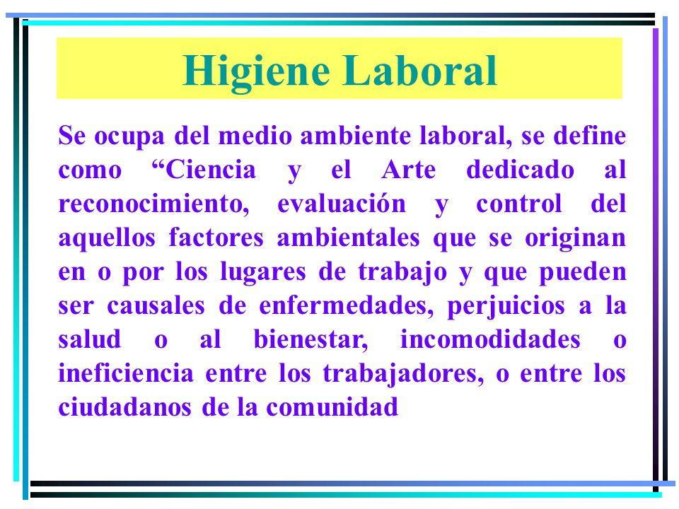 Se ocupa del medio ambiente laboral, se define como Ciencia y el Arte dedicado al reconocimiento, evaluación y control del aquellos factores ambientales que se originan en o por los lugares de trabajo y que pueden ser causales de enfermedades, perjuicios a la salud o al bienestar, incomodidades o ineficiencia entre los trabajadores, o entre los ciudadanos de la comunidad Higiene Laboral