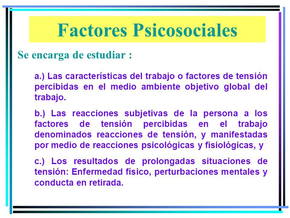Factores Psicosociales a.) Las características del trabajo o factores de tensión percibidas en el medio ambiente objetivo global del trabajo.