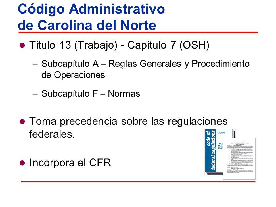 Título 13 (Trabajo) - Capítulo 7 (OSH) Subcapítulo A – Reglas Generales y Procedimiento de Operaciones Subcapítulo F – Normas Toma precedencia sobre l
