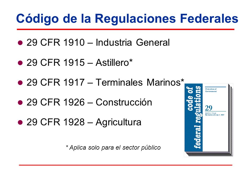 Código de la Regulaciones Federales 29 CFR 1910 – Industria General 29 CFR 1915 – Astillero* 29 CFR 1917 – Terminales Marinos* 29 CFR 1926 – Construcc