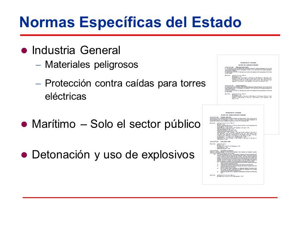 Normas Específicas del Estado Industria General Materiales peligrosos Protección contra caídas para torres eléctricas Marítimo – Solo el sector públic