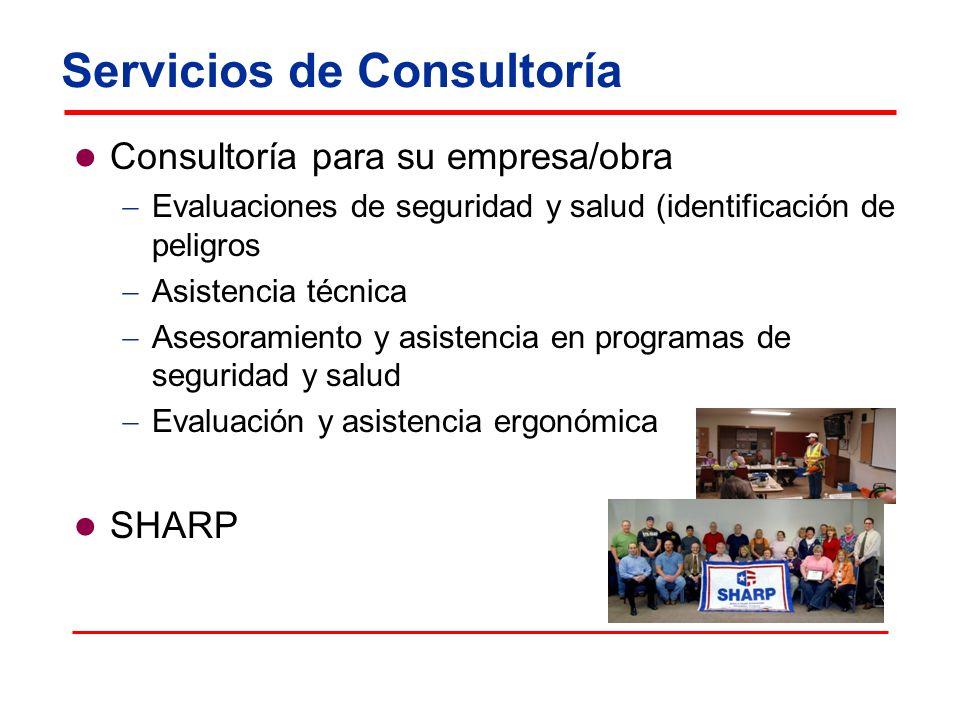 Servicios de Consultoría Consultoría para su empresa/obra Evaluaciones de seguridad y salud (identificación de peligros Asistencia técnica Asesoramien