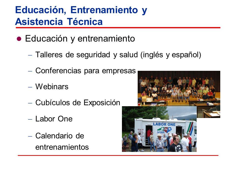 Educación y entrenamiento Talleres de seguridad y salud (inglés y español ) Conferencias para empresas Webinars Cubículos de Exposición Labor One Cale