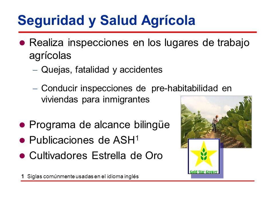 Seguridad y Salud Agrícola Realiza inspecciones en los lugares de trabajo agrícolas Quejas, fatalidad y accidentes Conducir inspecciones de pre-habita