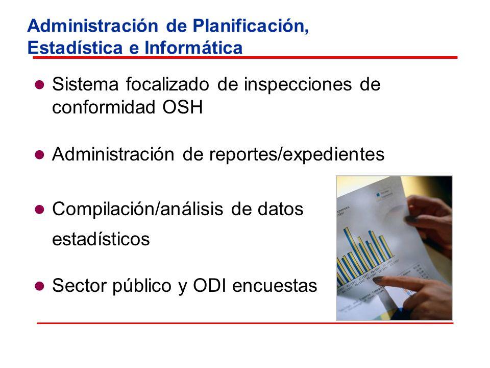 Administración de Planificación, Estadística e Informática Sistema focalizado de inspecciones de conformidad OSH Administración de reportes/expediente